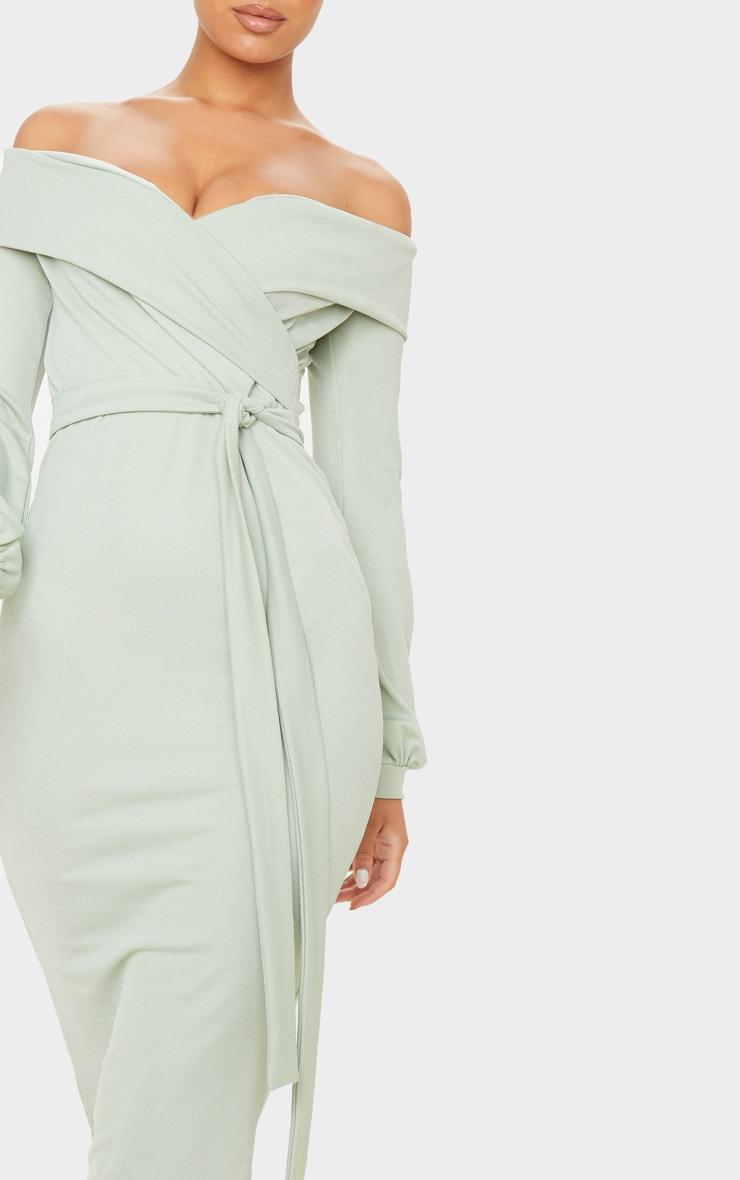 Sage Khaki Long Sleeve Wrap Bardot Midi Dress 5