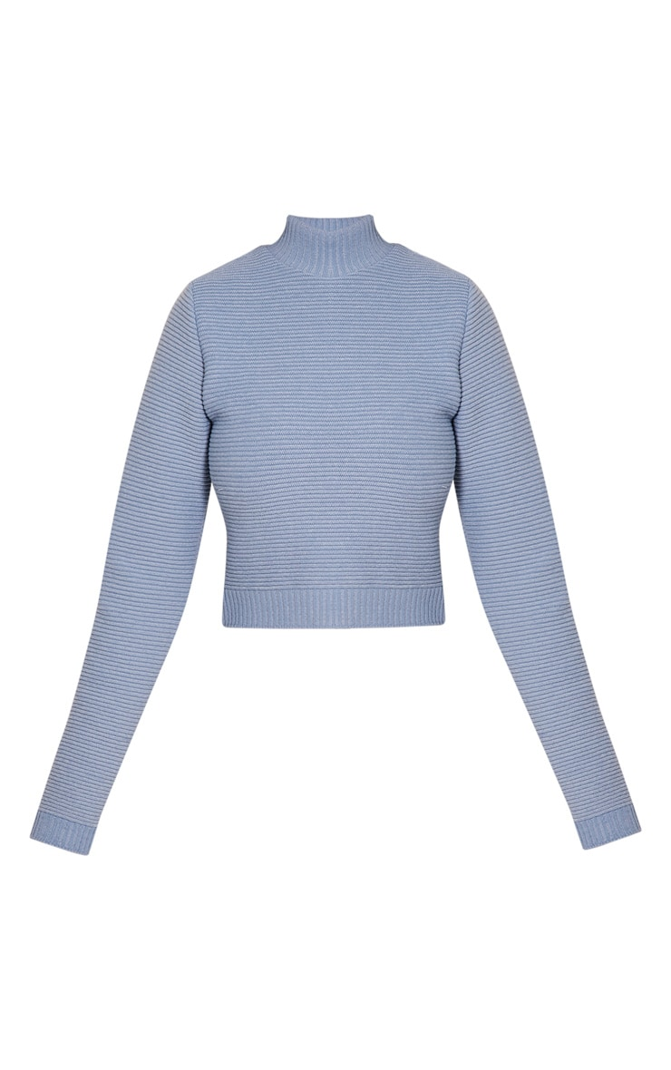 Dusty Blue Ribbed Crop Knitted Jumper  3