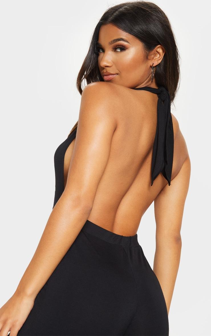 Black Jersey Halterneck Culotte Jumpsuit 5