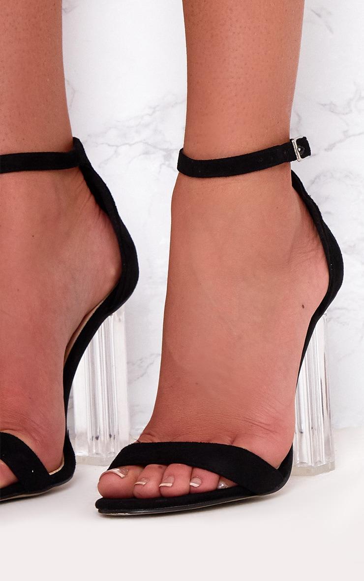 Black Strap Clear Heels 5