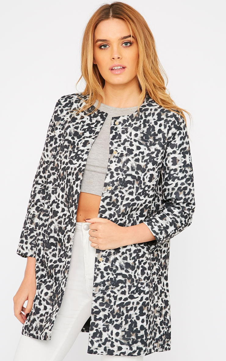 Orianna Grey Leopard Collarless Coat  1