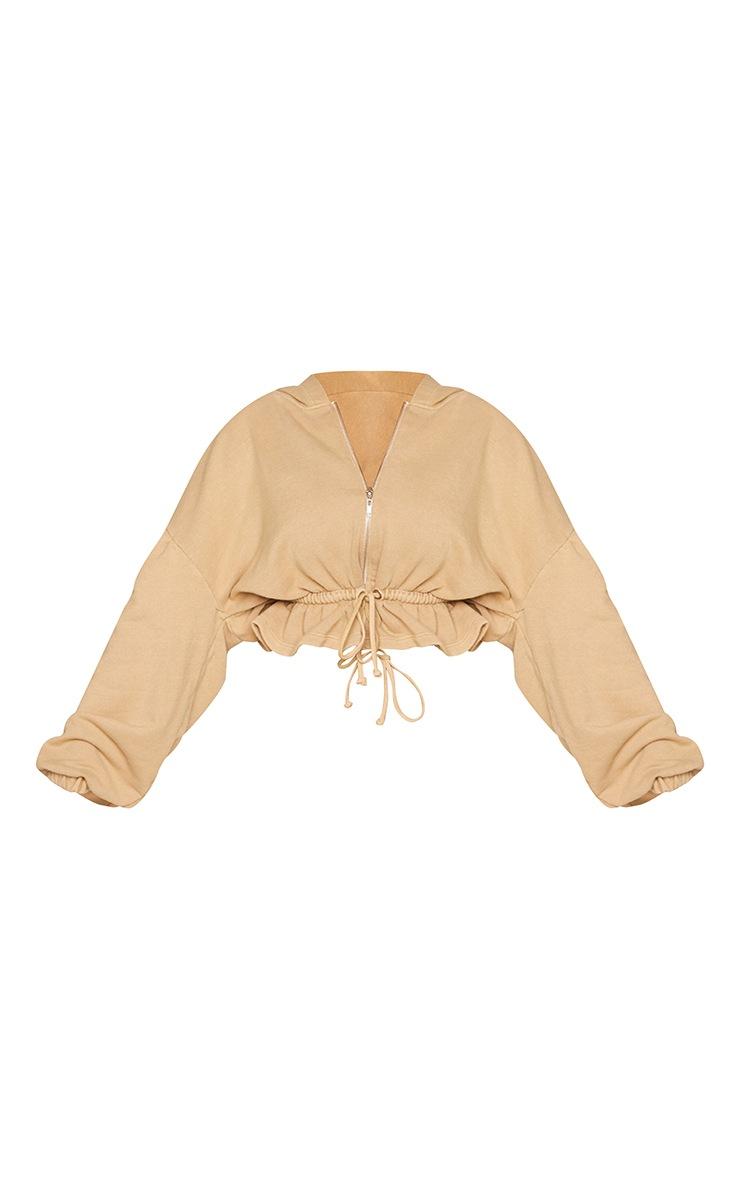 Petite Camel Frill Hem Zip Thru Balloon Sleeve Hoodie 5