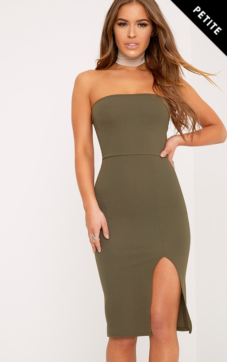 Petite Petunia Khaki Bandeau Bodycon Midi Dress 1