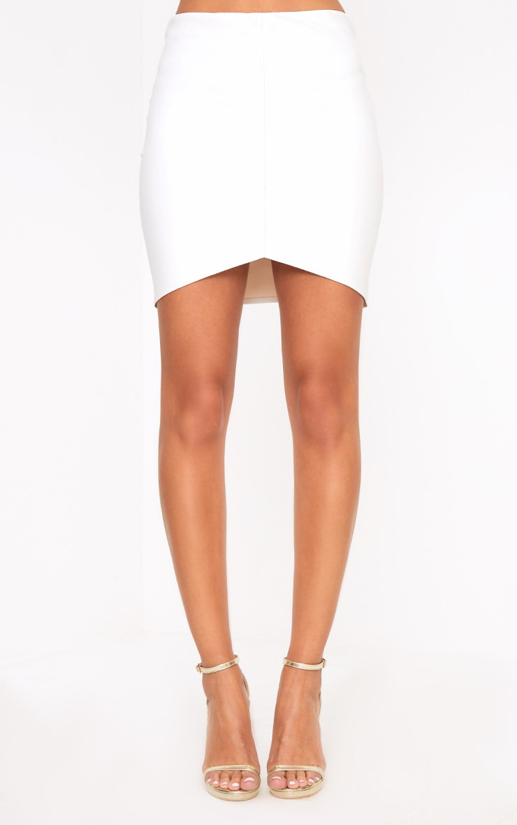 Cream Faux Leather Asymmetric Panel Mini Skirt 2