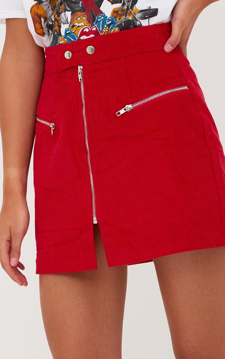 Red Cord Zip Up Mini Skirt 6