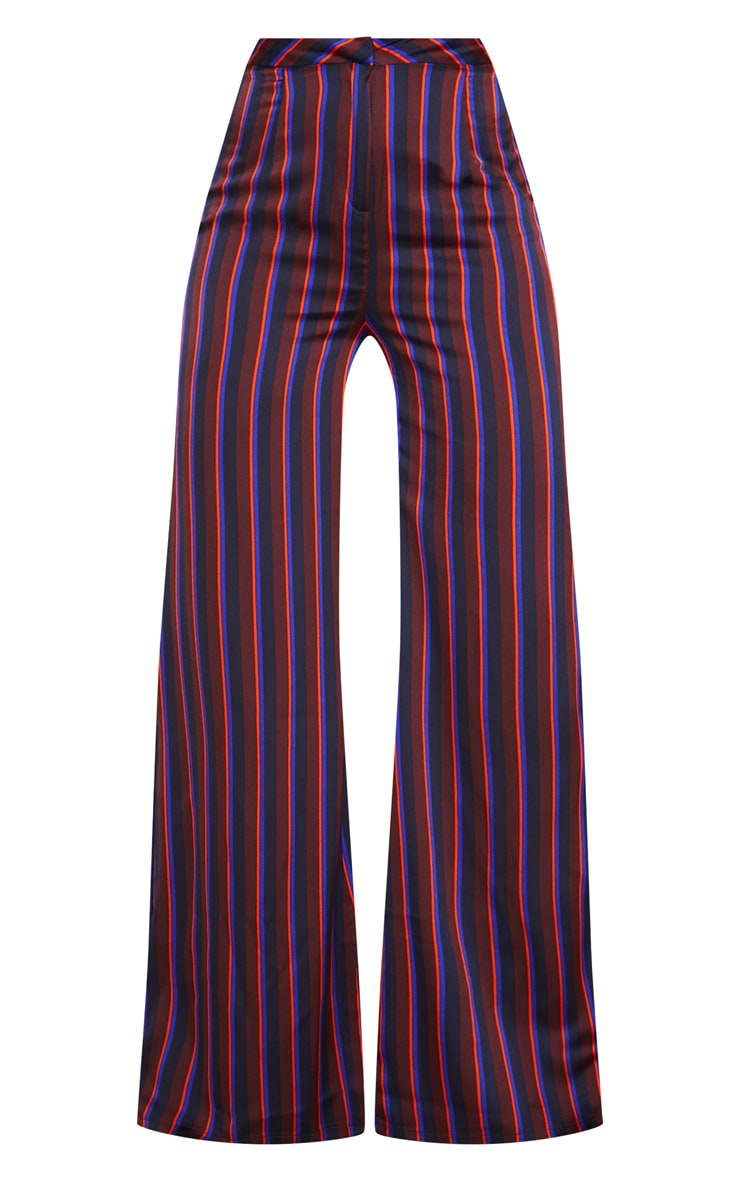 Burgundy Stripe Wide Leg Suit Pants 3