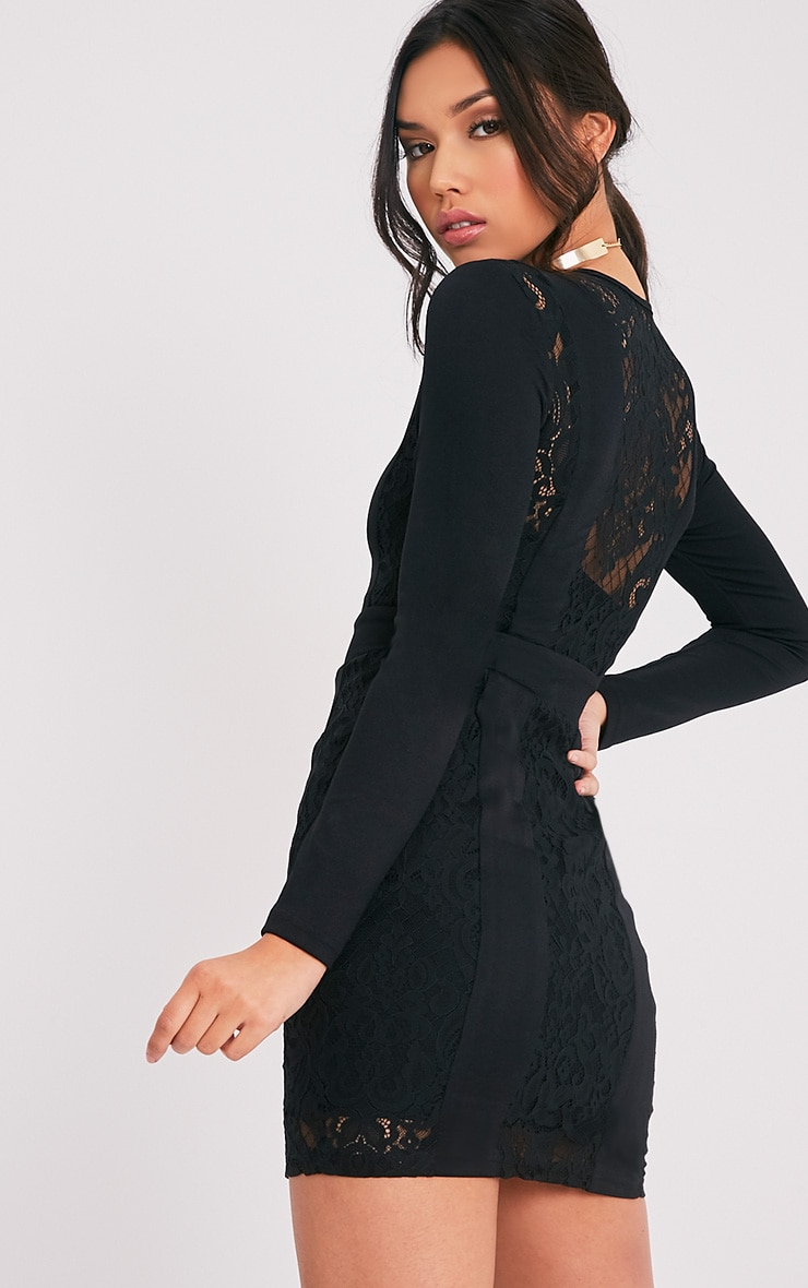 Issie Black Long Sleeve Lace Panel Bodycon Dress 4