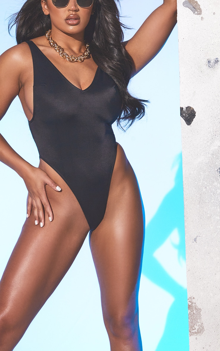 Black Recycled Fabric High Leg Swimsuit 4