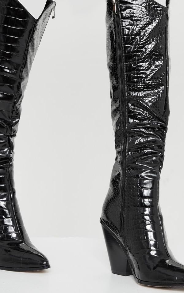 Black Croc Knee High Western Heel Boots 4