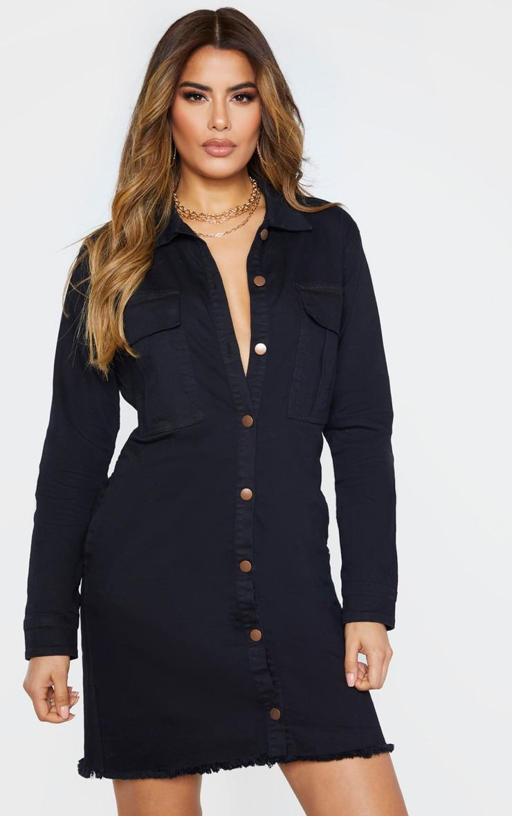 Tall Black Button Front Denim Shirt Dress 1