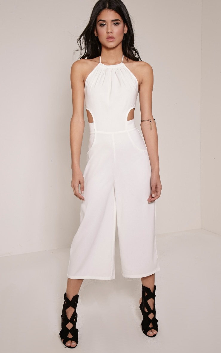 Racheal White Halterneck Cut Out Jumpsuit Prettylittlething Usa