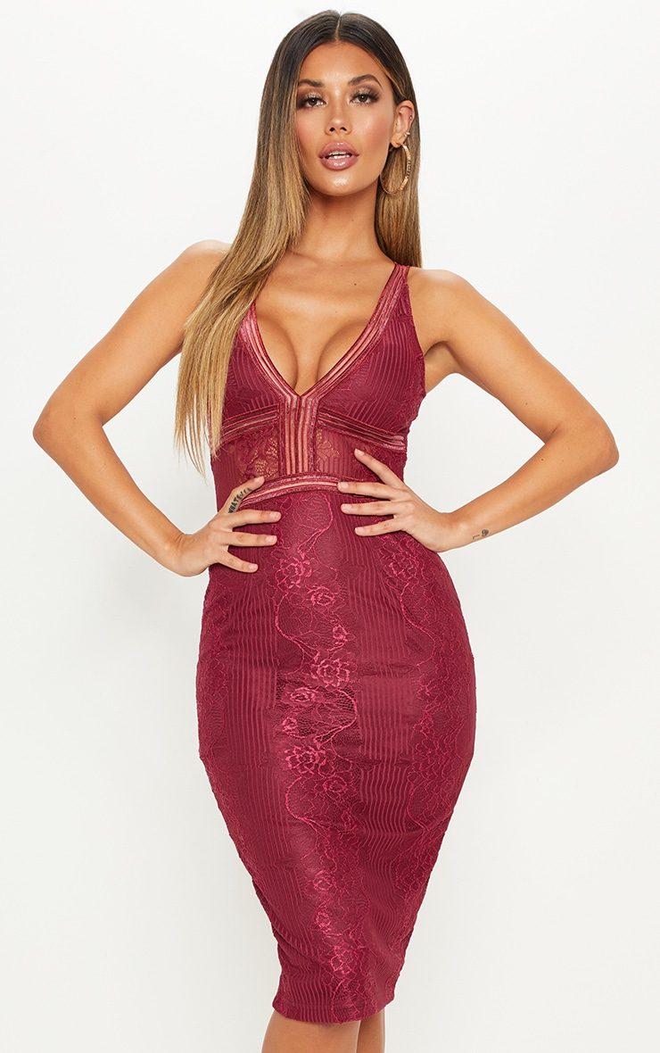Burgundy Plunge Lace Open Back Midi Dress 1