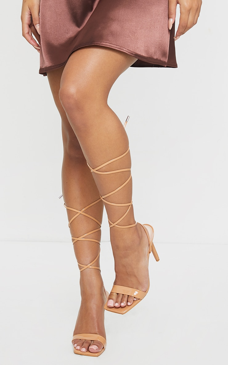 Taupe PU Patent Strap Lace Up High Heels 2