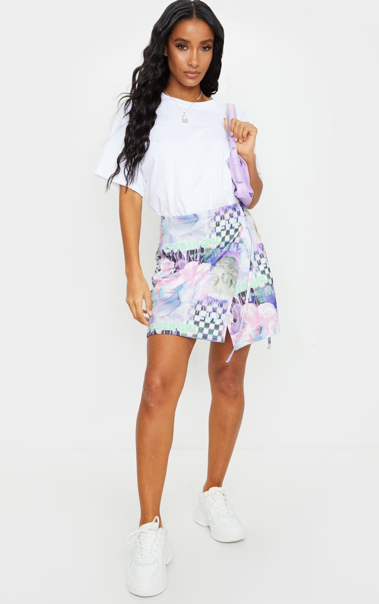 Lilac Cyber Statue Print Wrap A Line Skirt 1