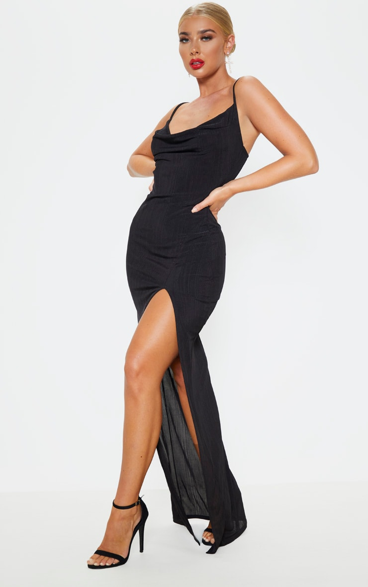 Black Strappy Plisse Cowl Neck Maxi Dress 4