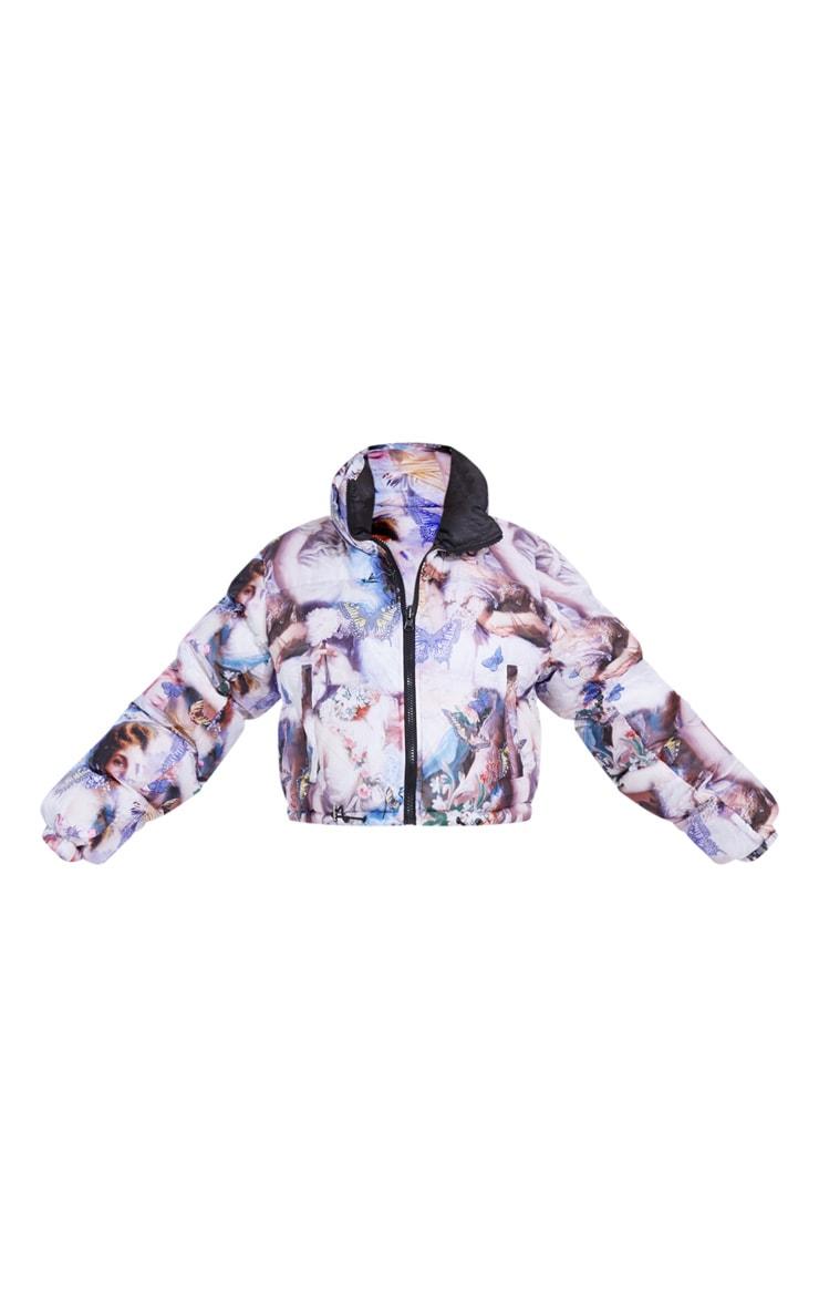 Blue Butterfly Print Reversible Zip Up Puffer Jacket 5