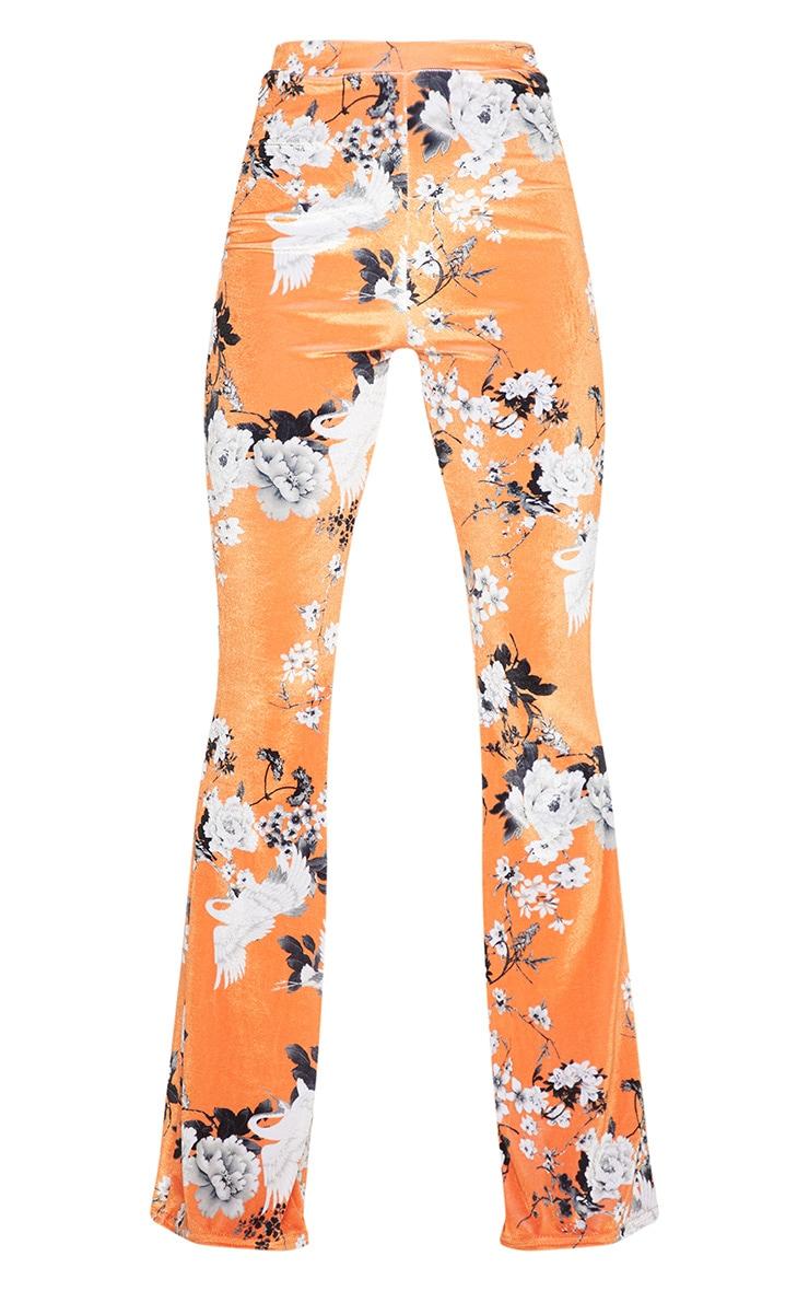 Petite Orange Floral Velvet Flared Trousers 3