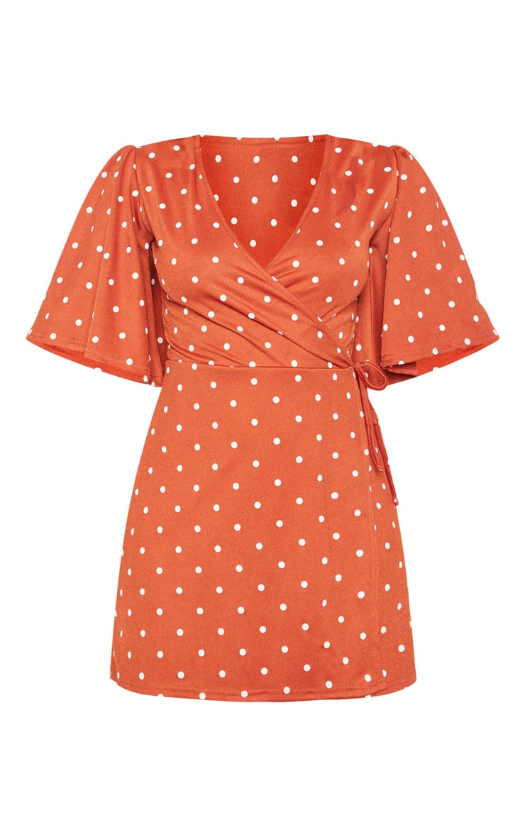 Terracotta Polka Dot Tie Wrap Tea Dress 3