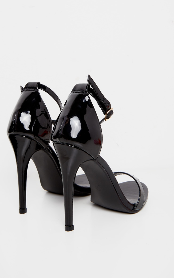Black Patent Heeled Strappy Sandal 3