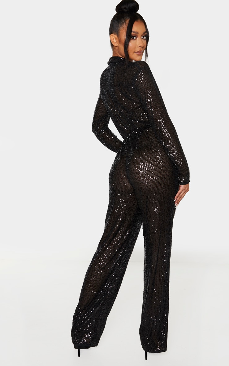 Black Sequin Collar Detail Long Sleeve Jumpsuit 2