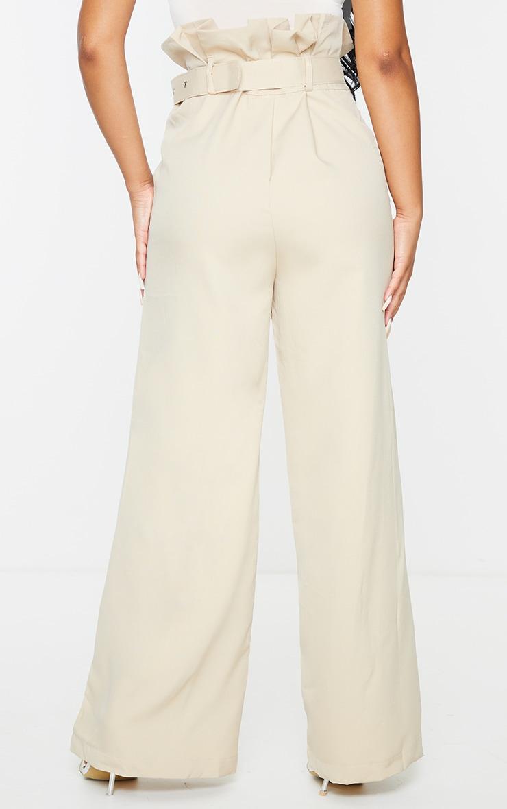 Petite Stone Extreme Satin Paper Bag Wide Leg Trousers 3