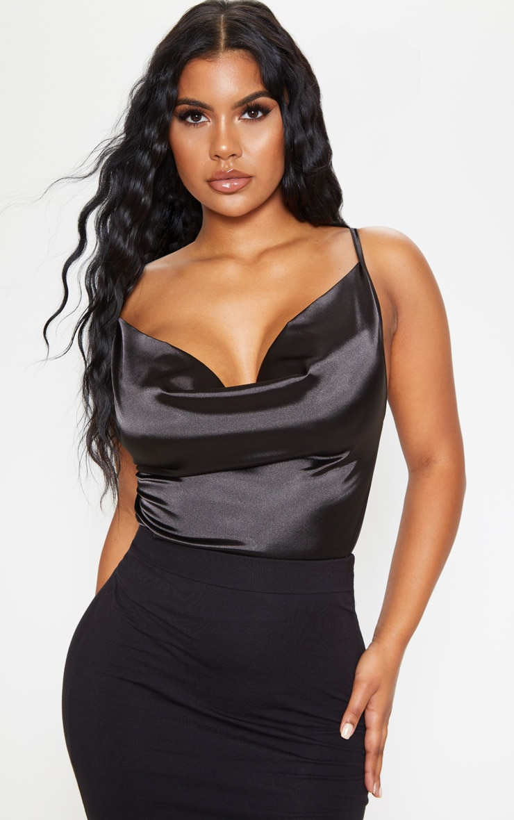Black Satin Crop Cowl Neck Cami 1