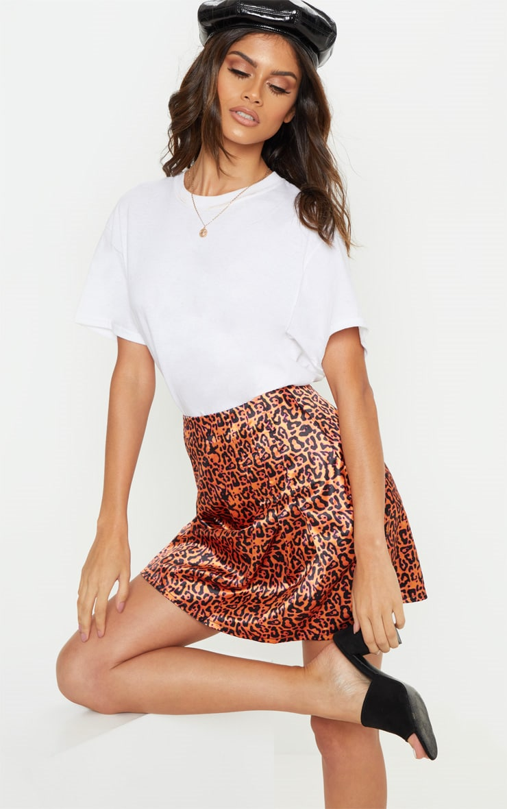 Orange Neon Leopard Print Pleat Detail Mini Skirt 1