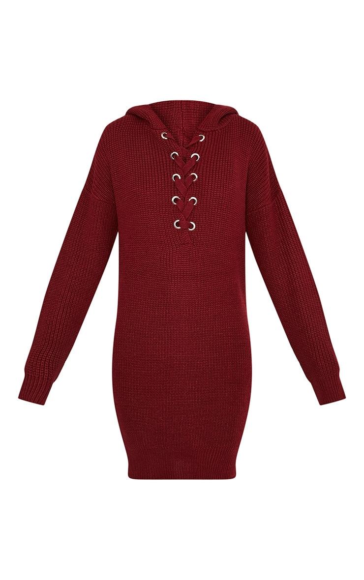 Megaen robe en maille à capuche surdimensionnée rouge foncé 3