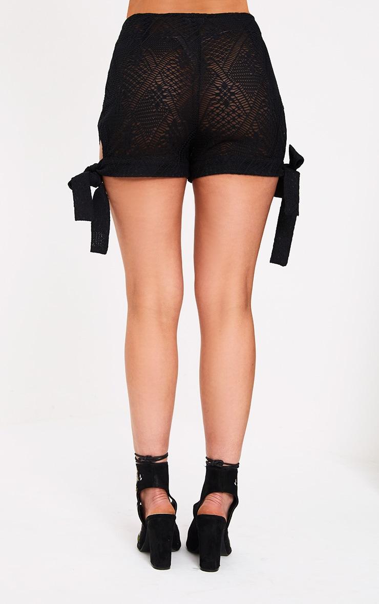 Black Cut Out Tie Hem Shorts 2