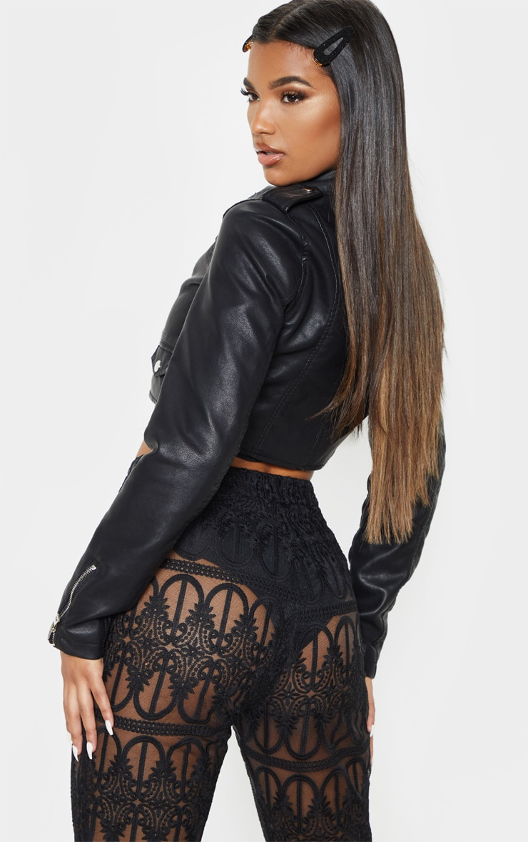 Black Cropped PU Biker Jacket With Zips 2