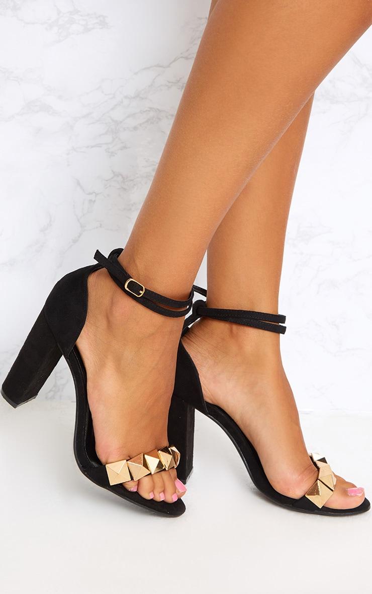 Black Pyramid Studded Block Heels 1
