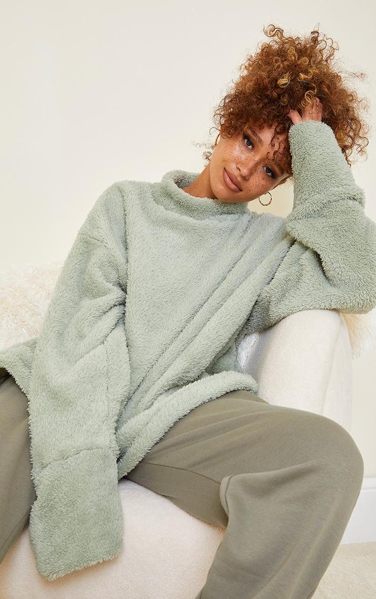 Olive High Neck Borg Sweater 1