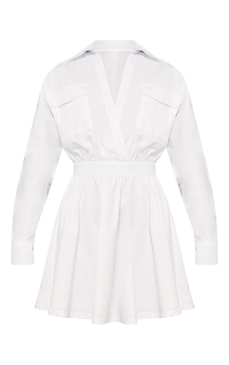 White Utility Plunge Skater Dress 4