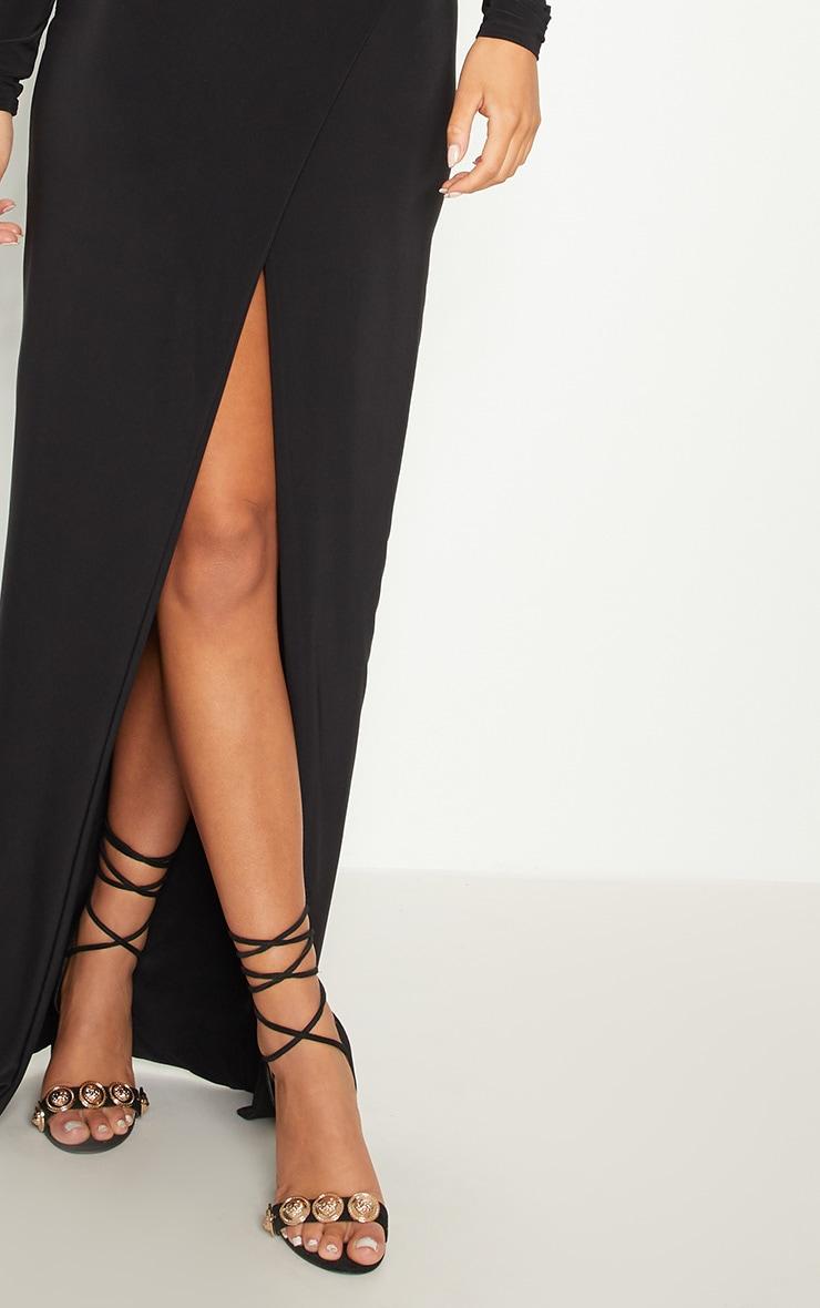 Black Slinky Wrap Front Maxi Skirt 5