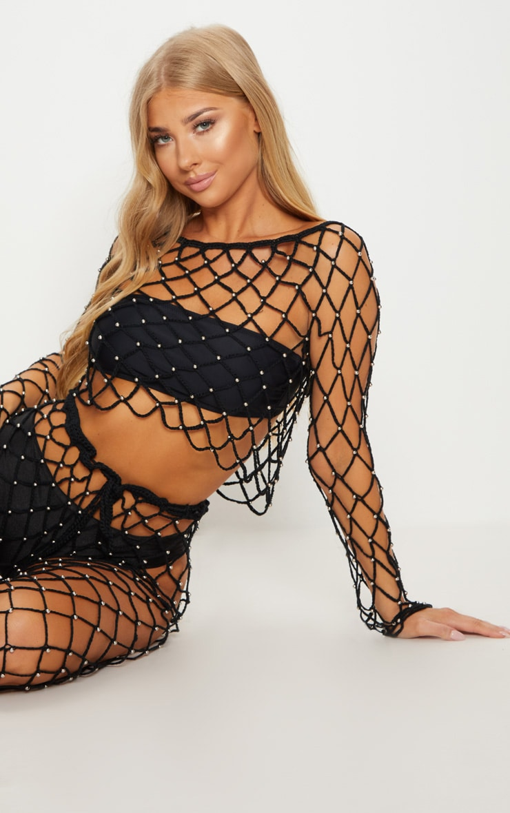 Black Crochet Beaded Long Sleeve Top 1