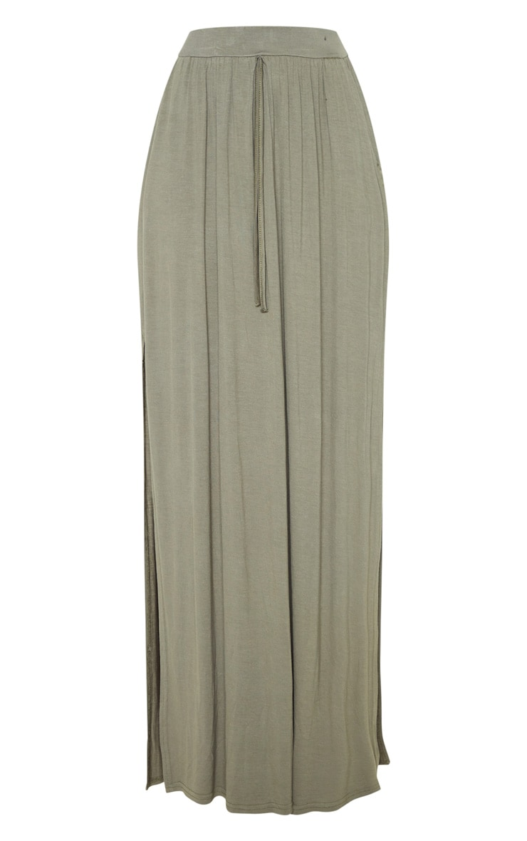 Olive Jersey Drawstring Maxi Skirt 3