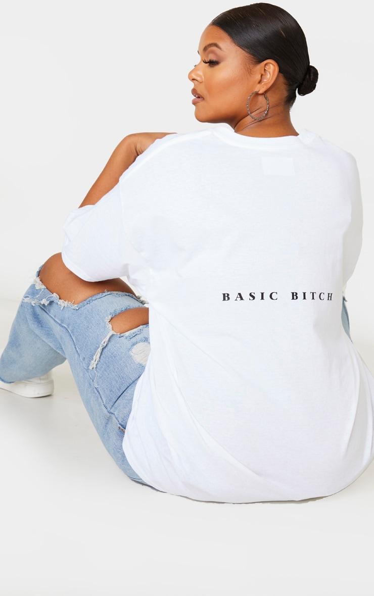 Plus White Oversized Basic Bitch Slogan T Shirt 1