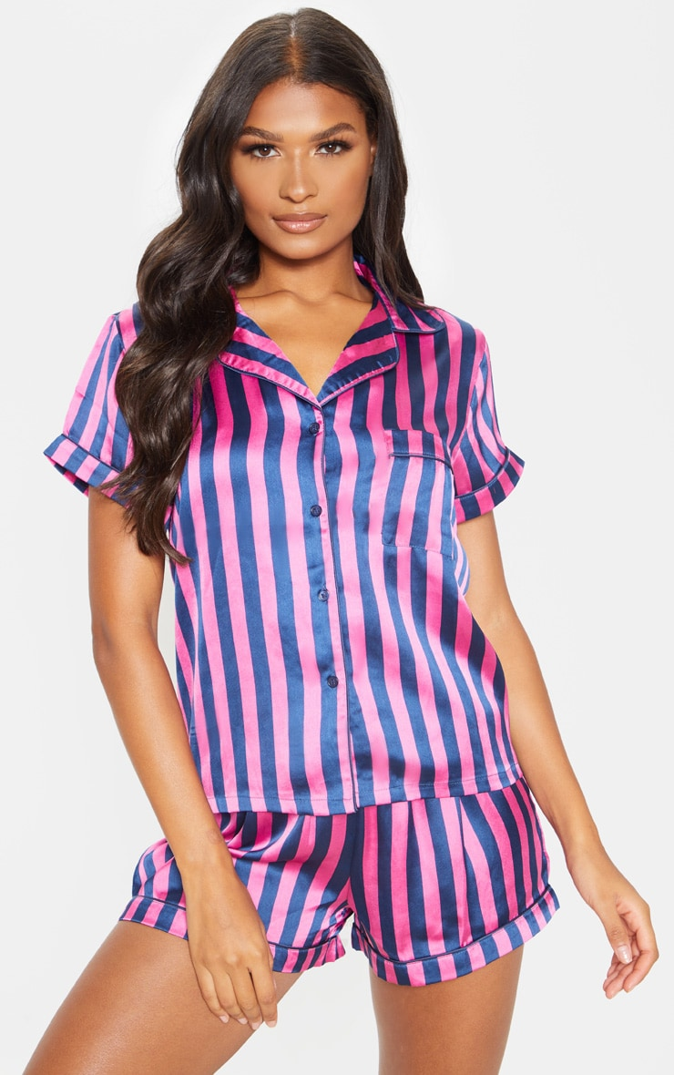 Navy And Pink Stripe Print Short Satin PJ Set 1