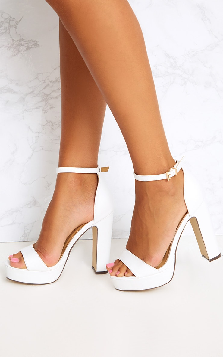 Taya White PU Platform Sandals 1