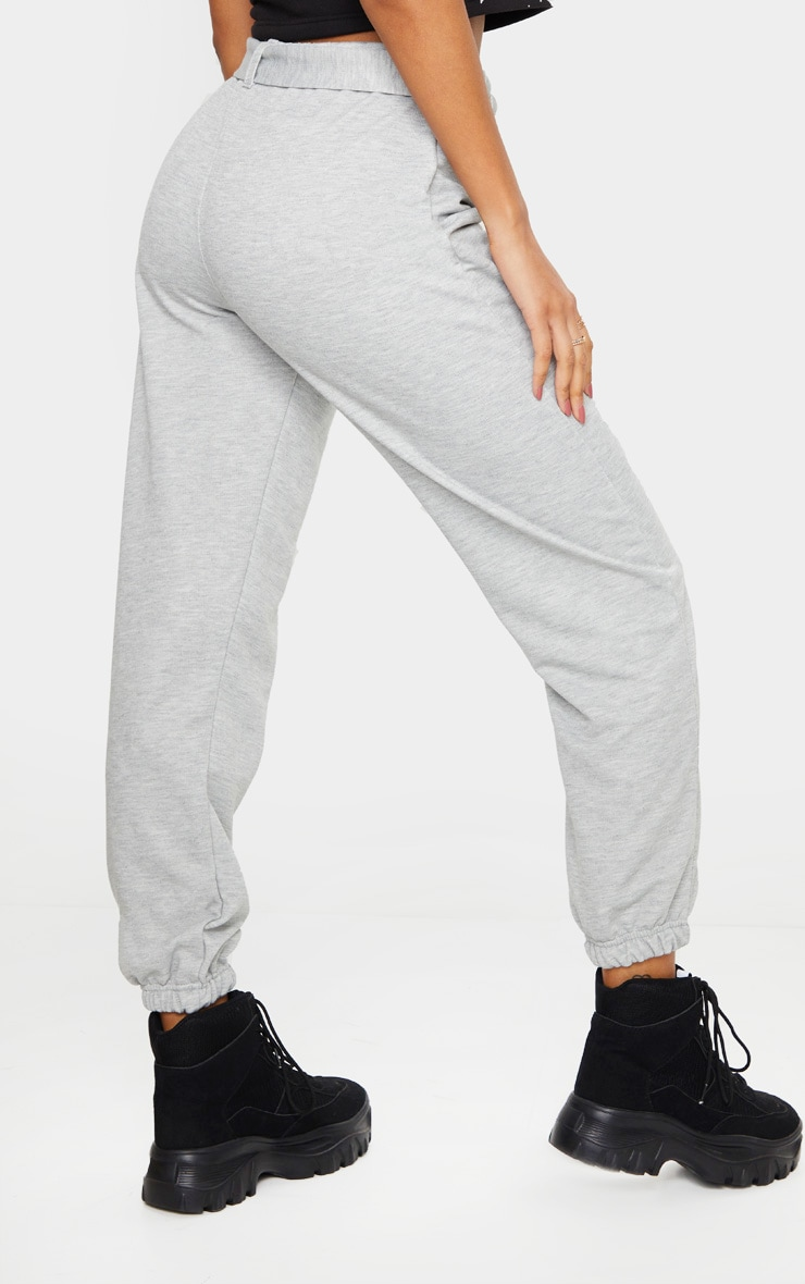 Grey Buckle Belted Casual Track Pants 3