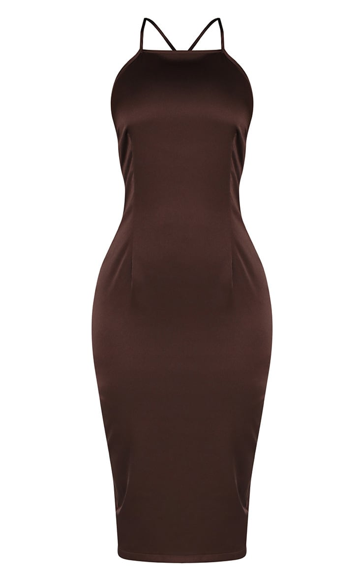 Shape Chocolate Satin Scoop Cross Back Midi Dress Pretty Little Thing Collections Online Free Shipping New Styles zd6ziO8l