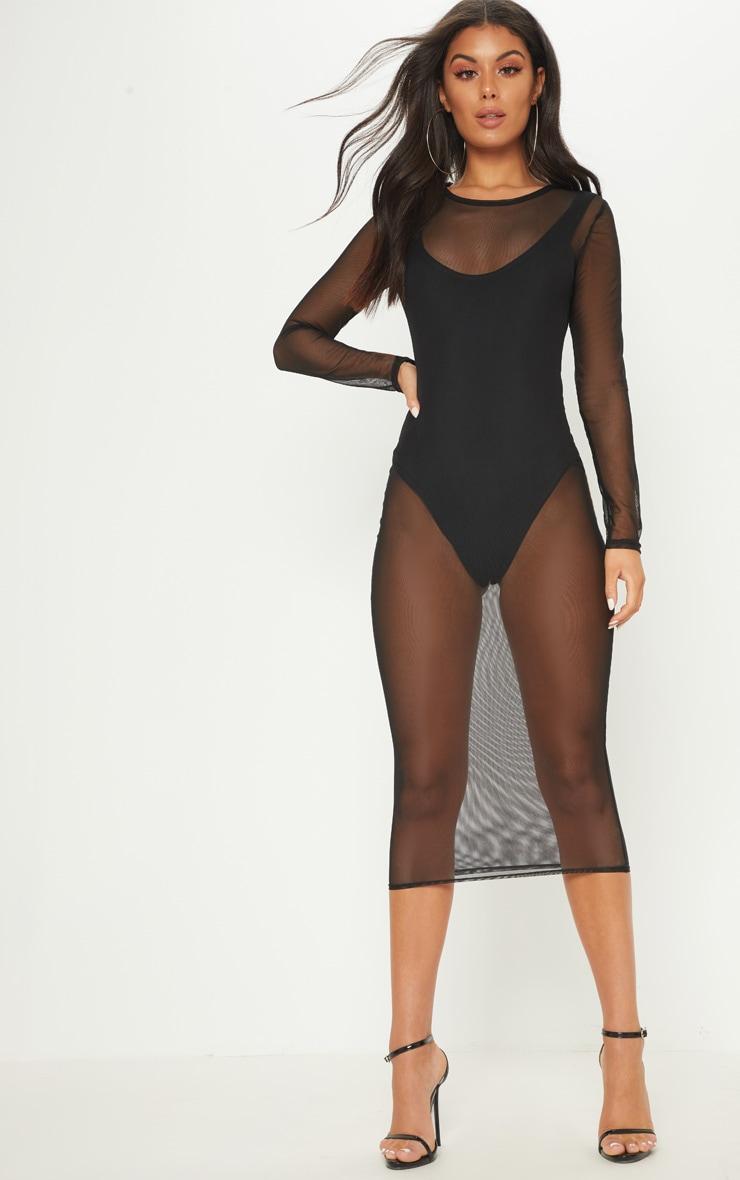 Black 2 in 1 Mesh Midi Dress 1