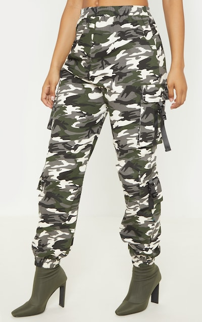 Tall Grey Camo Pocket Detail Cargo Trousers