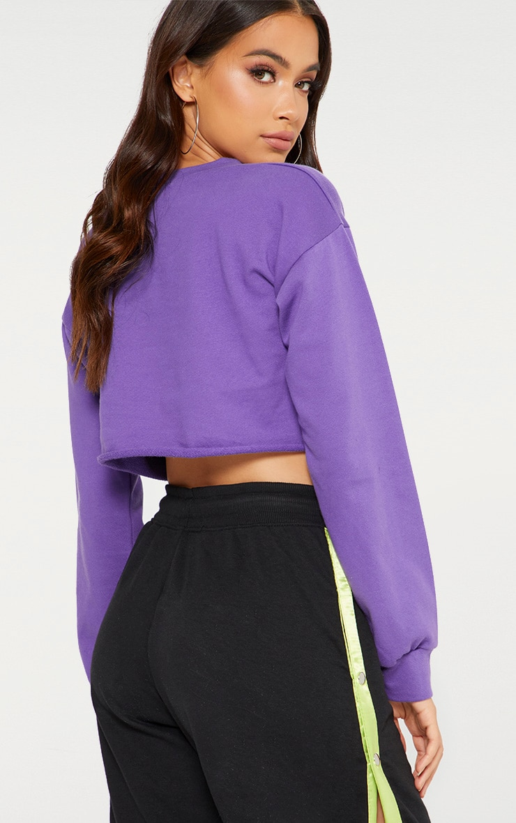 Purple Cut Off Crop Longsleeve Sweater 2