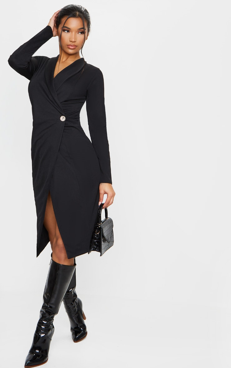 Robe noire mi-longue à boutons style blazer 3