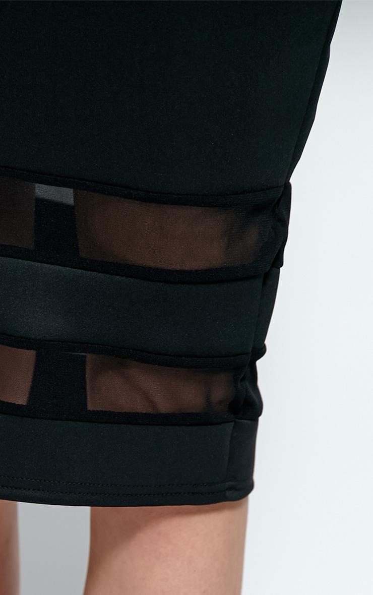Cassandra Black Mesh Panel Midi Skirt 5
