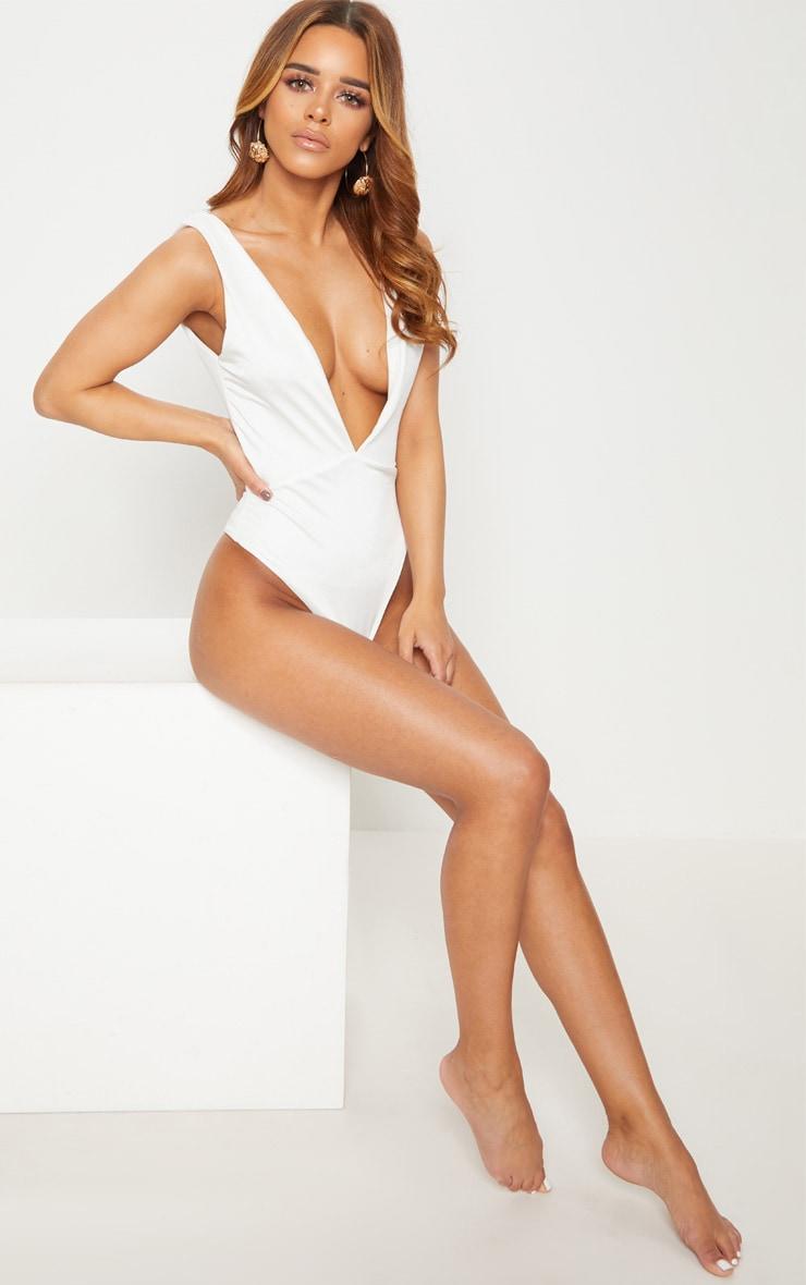 Petite White Plunge Swimsuit 1