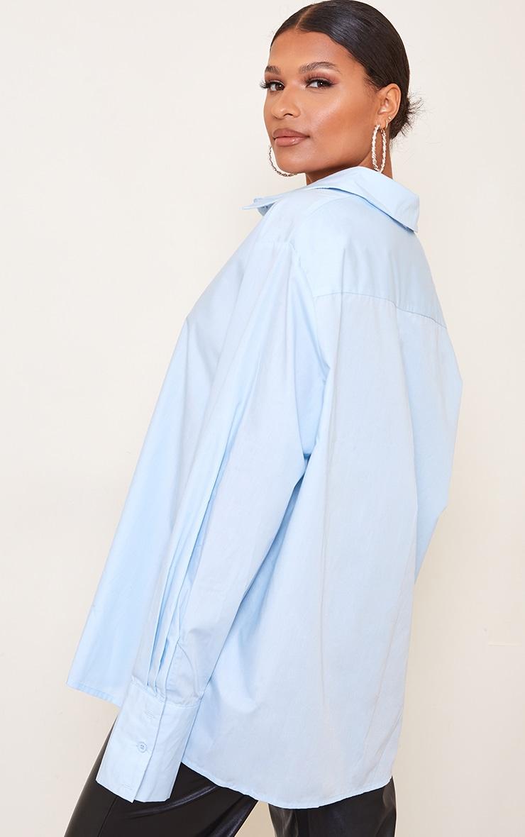 Blue Oversized Sheer Cuff Shirt 2