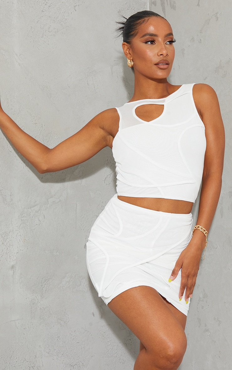 White Sheer Mesh Cut Out Mini Skirt 4