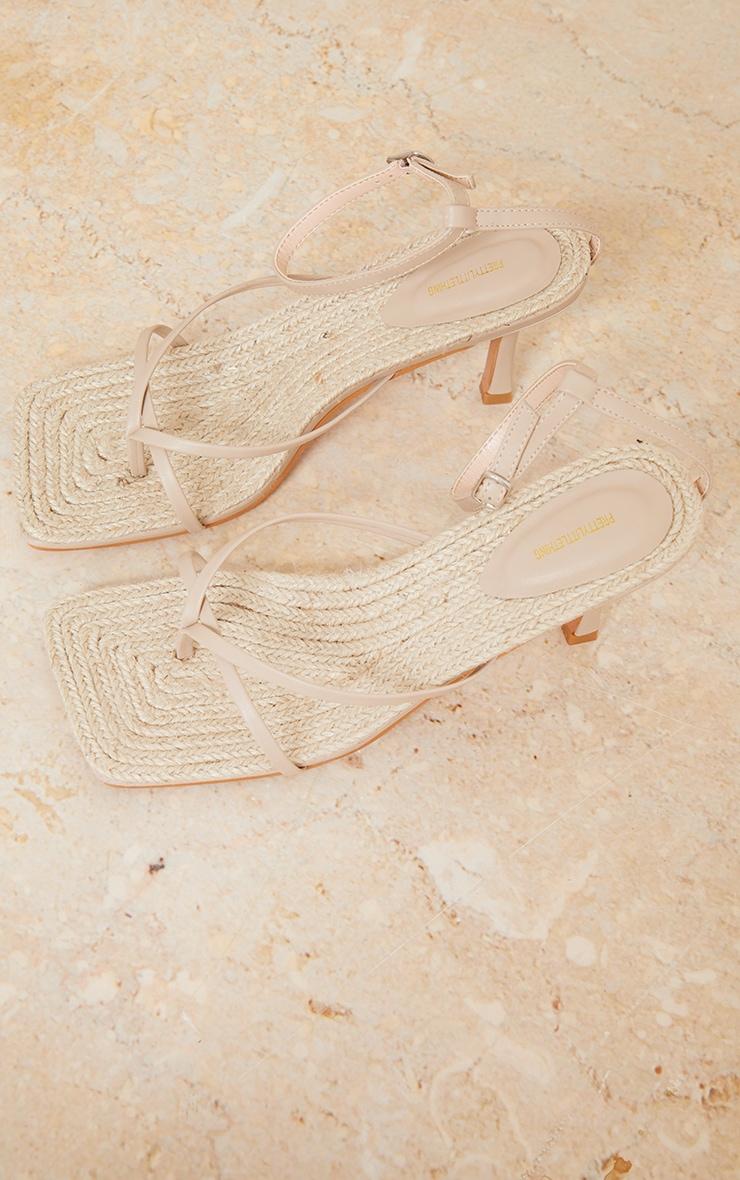 Nude Square Toe Raffia Toe Thong Heeled Sandals 3